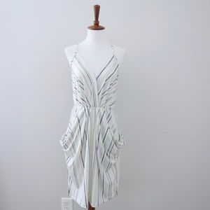BCBGeneration Striped Draped Pocket Midi Dress